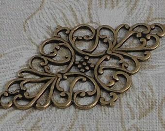 LuxeOrnaments Oxidized Brass Filigree Oval Floral Focal Medallion 46x26mm (Qty 1) G-06759-B