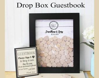 Drop Box guestbook alternative Guest book frame Wedding guest book   wood heart guestbook heart guestbook