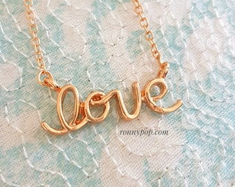 Love Necklace - Love Jewelry - Girlfriend Gift - Lovers Jewelry - Love Word - Dainty Chain - Silver - Gold - Christmas Gift - Mother Gift