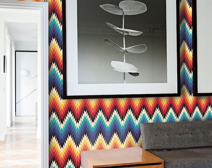 Aztec Wallpaper - Geometric Wallpaper - Missoni Inspired Wallpaper