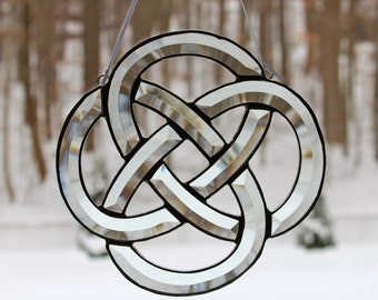 """Celtic Knot, Bevel Cluster Stained Glass Sun-catcher, 8"""" X 8"""", Hand Crafted, Made in the USA"""