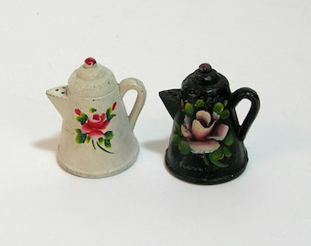 Cast Iron Mini Coffee Pot Salt and Pepper Tole Painted With Roses