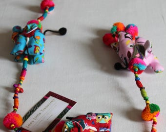 Handmade Bright & Colourful Hanging decoration with elephants and little bells - perfect for kids rooms