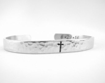 Adult Teen Baptism Gift Bracelet, Custom Baptism Date Cuff, Hammered Aluminum Cross Bracelet, Confirmation Gift, Christian Jewelry