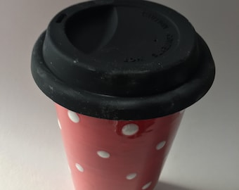 Ceramic travel mug hand decorated with polka dots, red and white, large single wall travel mug, silicone lid, spotty mug