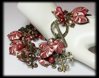 Cherries Jubilee... Handmade Jewelry Bracelet Beaded Cha Cha Polymer Clay Crystal Chain Pink Berry Brick  Bronze Antique Brass Swirl Spiral
