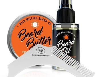 Beard Oil, Balm Conditioner and Beard Shaping Tool Mens Gift Set Developed For Beard and Mustache Growth.