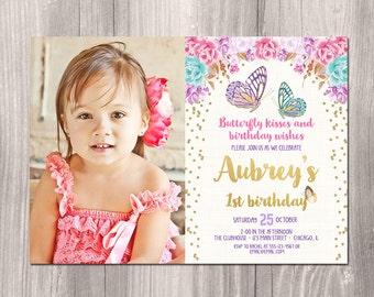 Butterfly birthday invitation, butterfly invitation, watercolor floral boho, girl birthday invitation, garden party, butterflies, printable