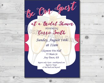 Be Our Guest Champagne Toast Bridal Shower Invitation - Printable