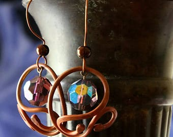 Rustic Copper Earrings, Boho Hippie Antiqued Copper Large Dangle Gypsy Earrings Patina Oxidized Boho Earrings Copper Jewelry Gifts For Mom