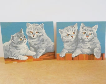 Two Vintage Paint By Numbers • Kittens Cats Paint By Numbers • Fluffy Kittens 1954