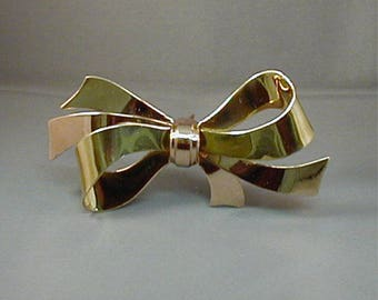 Huge Coro Sterling Gold Wash Bow Brooch 25gms