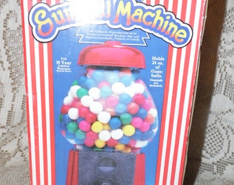 Vintage 1986 Red Metal Gumball Machine Bank Carousel Antiqued Glass Globe New In Box
