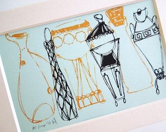 PHANTASIE-FLASCHEN | mondänen Retro bar Dekor fünfziger Jahre Stil Kunst | Aqua und gold Mini Siebdruck mit Mat von Kathryn DiLego