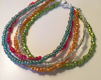 Seed Bead Multistrand Ankle Bracelet