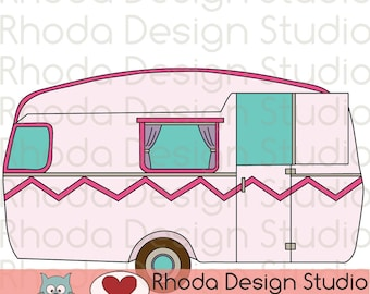 Vintage Camper Shabby Pink Digital Clip Art Retro Camp Trailers