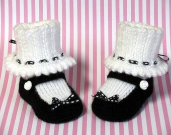 Knitted Baby Booties, Black and White Mary Jane Booties
