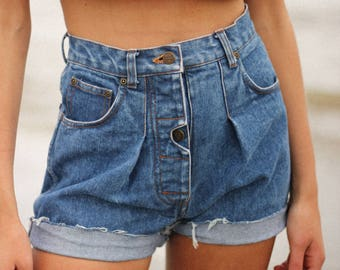 Vintage Button-Up Pleated Cut-Off Shorts