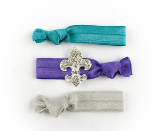 Fleur de Lis Hair Tie Set - 3 Rhinestone and Elastic Hair Ties that Double as Bracelets