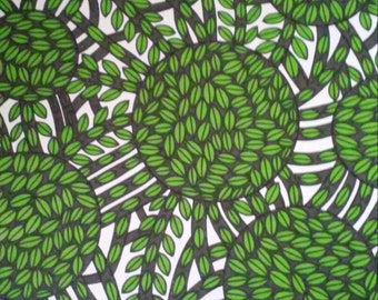 Green and Black Leaves Circles Pen and Ink Drawing