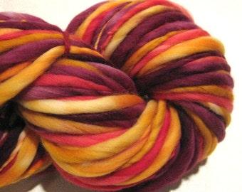 Super Bulky Handspun Yarn Turn Up The Heat 100 yards hand dyed wool gold red yarn waldorf doll hair knitting supplies crochet supplies