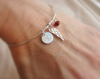 Memorial jewelry, Personalized birthstone bracelet, gift for Mom jewelry, Childs initial Mothers bracelet Angel baby silver initial bracelet