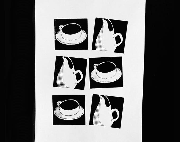 Russel Wright ceramics. Black and white silkscreen print by Liza Cowan