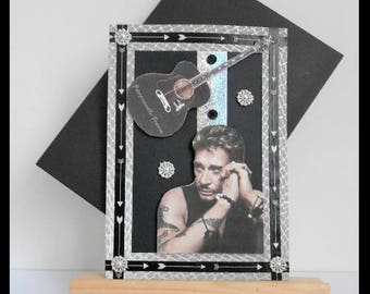 Johnny Hallyday card black any occasion