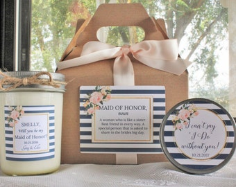 Will You Be My Bridesmaid Gift Box / Will you be my Maid of Honor Gift/Navy & Blush Bridesmaid Gift// Bridesmaid Candle/ Sugar Scrub