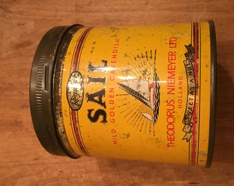 Vintage SAIL Cavendish Pipe Tobacco Tin Can Holland Screw Top