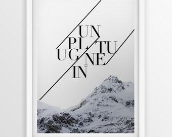 Typographic Art Print ''Unplug,Tune In'' A3