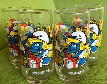 Vintage 80s Smurfette Drinking Glasses/Tumblers Set of 4/Smurfs Drinking Glasses/Tumblers Licensed by Wallace Berrie and Co