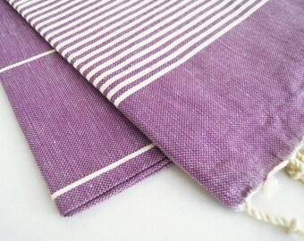 SALE 50 OFF / Turkish Beach Bath Towel / Classic Peshtemal / Purple / Wedding Gift, Spa, Swim, Pool Towels and Pareo