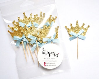Crown Cupcake  Toppers 12CT,  gold birthday party decorations, prince cupcake toppers, baby shower