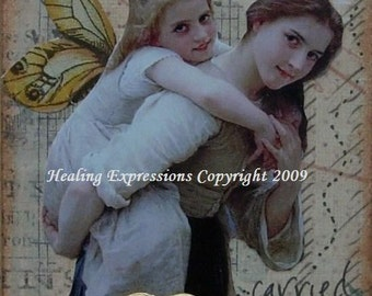 TO BE CARRIED altered art hope therapy recovery survivor support friendship faith collage atc aceo print