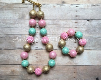 Pink Mint and Gold Chunky Necklace, Pink Gold and Mint Baby Necklace, Pink and Gold Chunky Necklace, Pink Mint and Gold Toddler Necklace