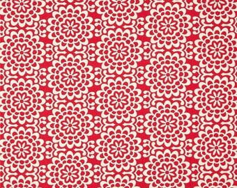 Amy Butler Fabric, True Colors, Wallflower in Poppy Red, cotton quilting fabric - FAT QUARTER SALE