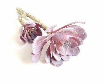 Pink succulent, artificial succulents, pink aeonium with stem, two succulent sprays, light pink, blush pink succulent, succulent bouquet