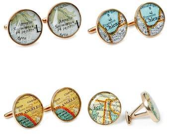 Bronze Cufflinks  8th Anniversary Vintage Maps