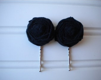 Pair of Black Rolled Rosette Bobby Pins