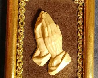 """Vintage 1950s German Wall Hanging Praying Hands Religious Decor Framed Velvet 5x7"""""""