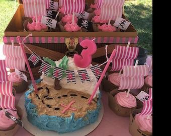 Ship and Pirate Ship Cupcake (pink)