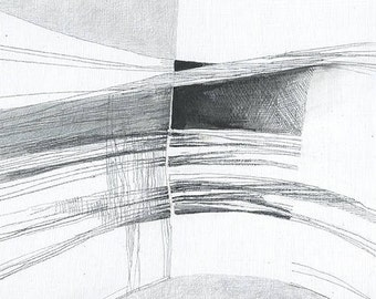 Boggle Cave - abstract drawing of Yorkshire coast - graphites on plywood