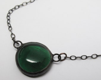 Emerald Droplet - Small Stained Glass Nugget Necklace with Sterling Silver Chain