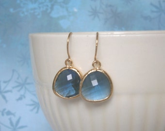 Sapphire Earrings, Gold Earrings, Blue Earrings, Best Friend Birthday, Mom Gift, Sister Gift