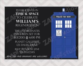 Doctor Who Birthday Party Invitation -Printable Digital File-