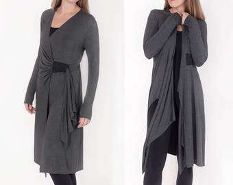 Cardigan Yoga Cover-up / Softly Sculpted Asymmetric Sweater or Duster / Soft Lightweight Charcoal Gray Jersey Jacket Dress / Leslie Charcoal