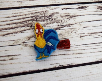 Handcrafted Rooster Sidekick Feltie Clip - Small Hair Clip - Birthday Favors - Rooster Hair Accessory - Rooster Bows - Chicken Bow - Toddler