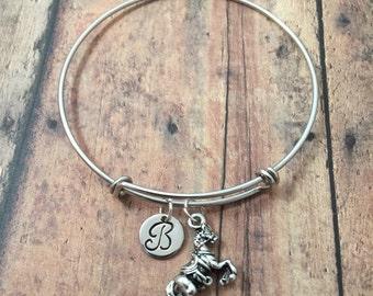 Arabian horse initial bangle- horse jewelry, horse riding bangle, arabian horse bracelet, equestrian jewelry, gift for horse rider