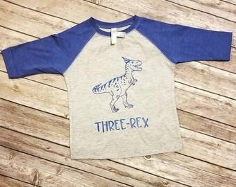 Three-Rex Toddler/Youth Raglan/Baseball Tee Dinosaur Birthday Shirt